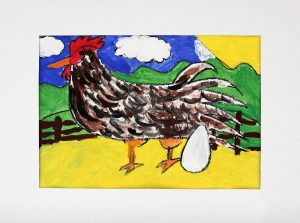 bright-colored-painting-of-a-chicken-and-egg-in-front-of-a-fence