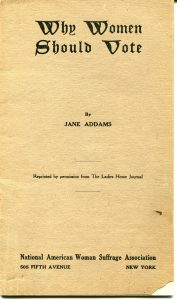 "Booklet cover to ""Why Women Should Vote' By Jane Addams"