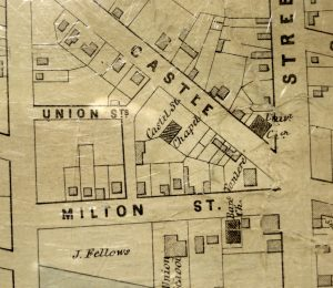 Map showing properties on Milton, Union, Castle Streets.