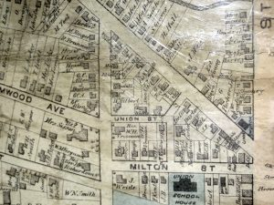 Map showing properties on Milton Street including the Union School.