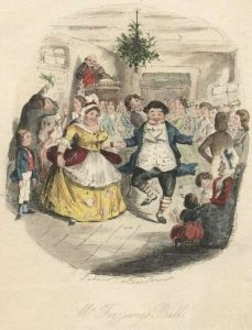 people in period dress dancing at a party