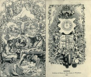 two black and white sketches. One has a woman and woman sitting in a parlor with a baby in the cradle. The other is a wall clock