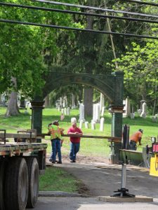 men working in a cemetery