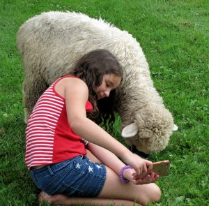 young lady posing for a photo with a sheep