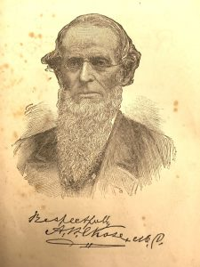 "sketch of a man with glasses and a beard signed ""respectfully A.W. Chase MD"