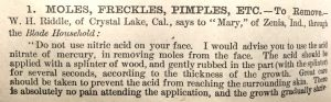 Remedy for moles, freckles, pimples