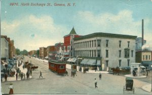 postcard of the intersection of castle and exchange streets