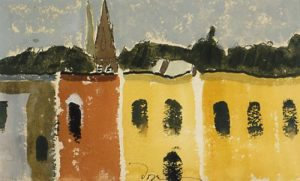 painting of a series of buildings