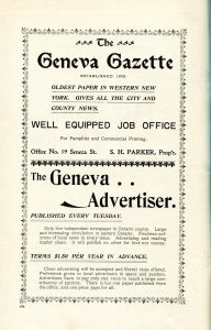 ad for Geneva Gazette and Geneva Advertiser
