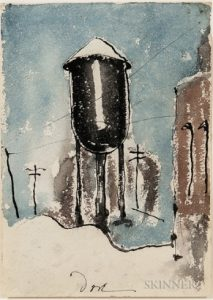 painting of a water tower