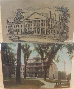 Pen and ink sketch and post card of a multi-story building