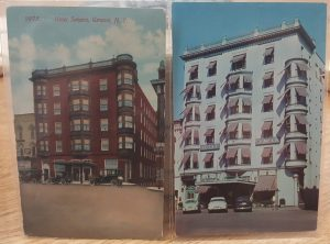 two postcards of the same building