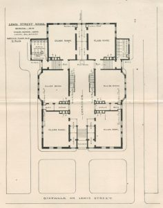 First floor plan for Lewis Street School