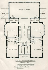 Second floor plan for Lewis Street School