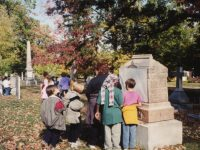 children-doing-gravestone-rubbing