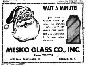 Newspaper ad for Mesko Glass Co.