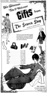 Newspaper ad for The Seneca Shop