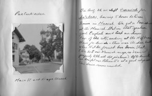 Diary excerpt with a photo on one page and handwriting on the other.