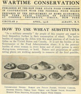 April 1918 printed circular on how to use wheat substitutes