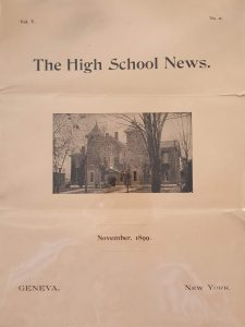 cover to the November 1899 edition to The High School News