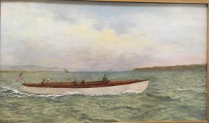 painting of men in a boat