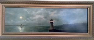 painting of a lighthouse with the moon off in the distance