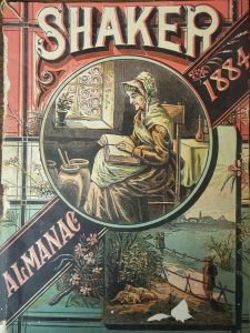 cover to an almanac contains an image of a woman sitting in front of a window reading