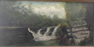 painting of a small waterfall