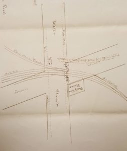 hand-drawn map of the intersection of lewis and exchange streets