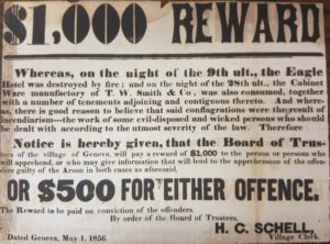 reward notice for a $1,000 dated May 1, 1856