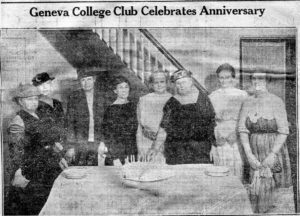 newspaper clipping of women standing around a table