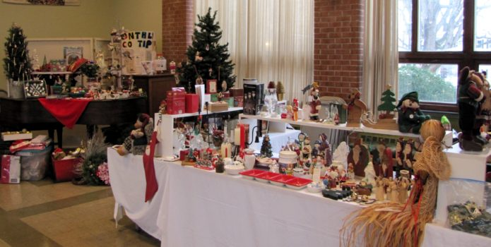 display of Christmas decorations and ornaments for sale