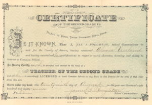 1883 Teaching Certificate