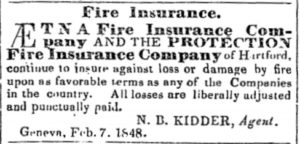 Newspaper advertisement for Aetna Insurance from February 7, 1848.