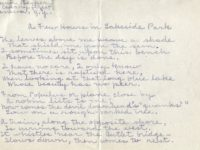 "Handwritten version of Edwin Becker's poem Edwin's poem ""A Few Hours in Lake Side Park.:"""