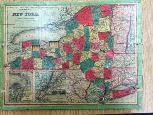 Colored 1880s map of New York State