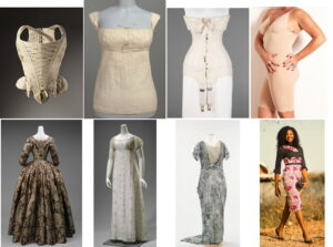 A set of eight images of foundationwear and dresses.