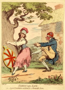 Caricature of a man tightly lacing the corset of a woman holding on to a tree.