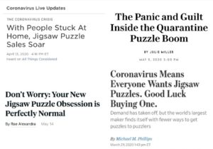 Headlines from articles about puzzles