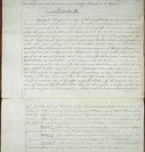 Handwritten excerpt from the 1 821 New York State Constitution