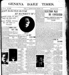 Front page of the Geneva Daily Times on November 4, 1903