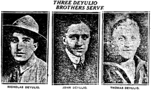 Newspaper clipping about the Deyulio Brothers World War I service