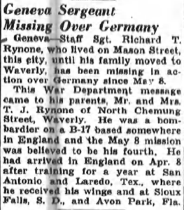Newspaper clipping about Richard Rynone