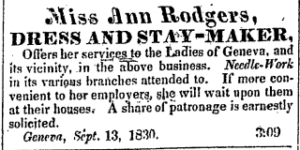 1830 newspaper ad for Miss Ann Rodgers, Dress and Staymaker