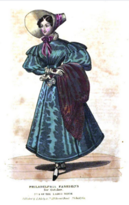 Illustration of a woman in a dress with a small waist, large sleeves and wide skirt and bonnet.