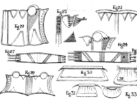 Pattern illustrations for corsets and bumpads.