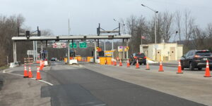 View of tollbooths on New York State Thruway.