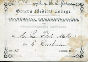 Geneva Medical College admission ticket