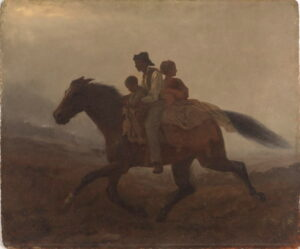 A black man, woman and child riding a horse in the dark.