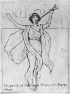 Sketch of a woman in flowing robes holding a trumpet aloft.